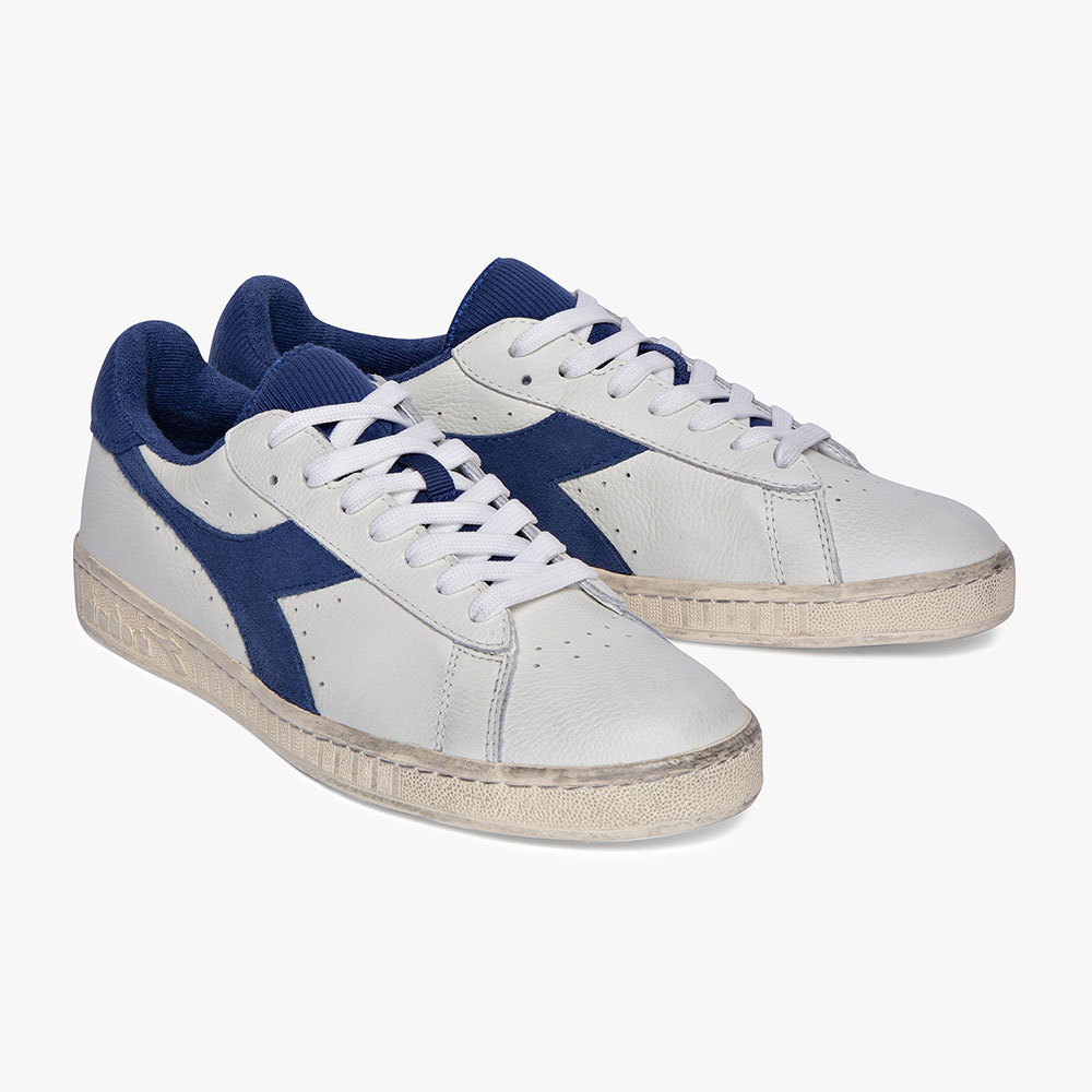 Basket-Diadora-Game-L-Low-Used-Blanche-Bleue