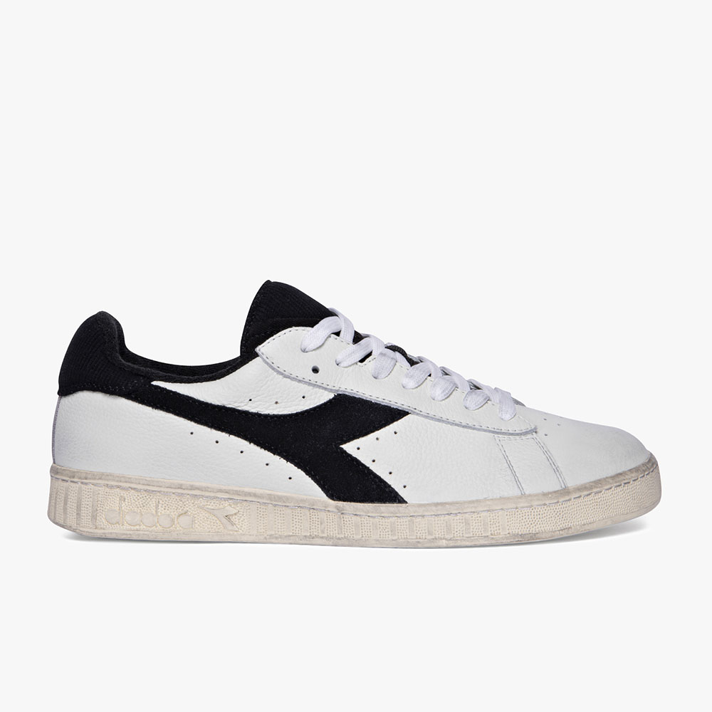 Basket-Diadora-Game-L-Low-Used-Blanche-Noire