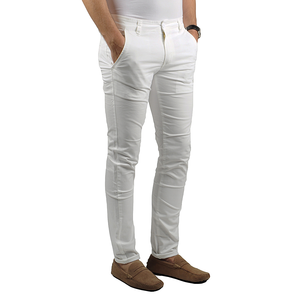 Pantalon Chino Homme Blanc Lee-yo