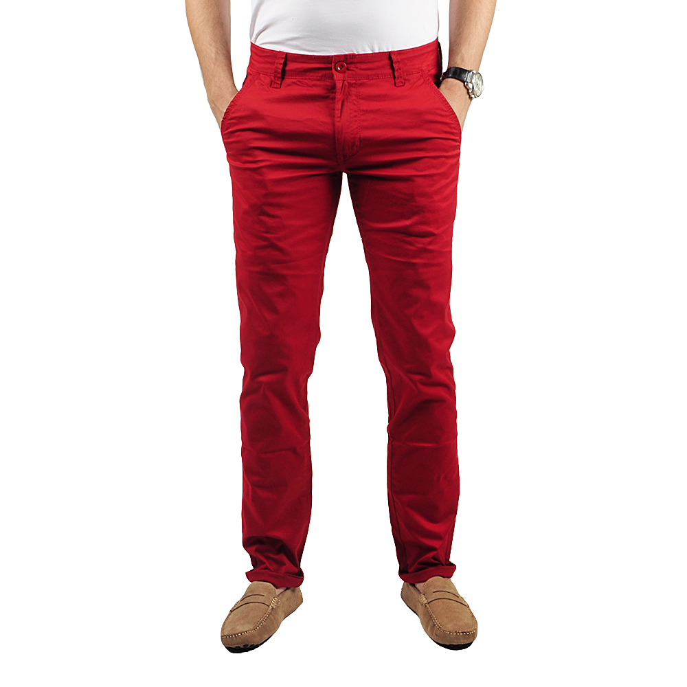 Pantalon Chino Homme Rouge Léger Lee-yo