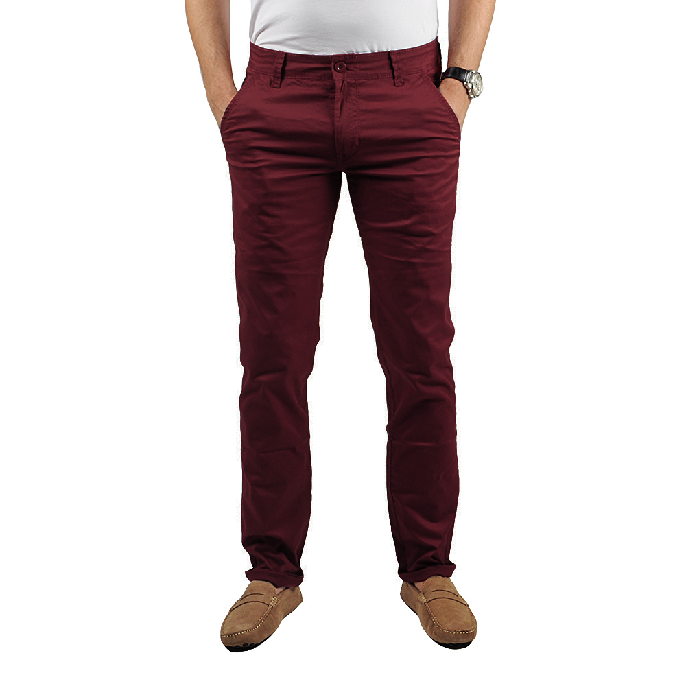 Pantalon Chino Homme Bordeaux Lee-yo