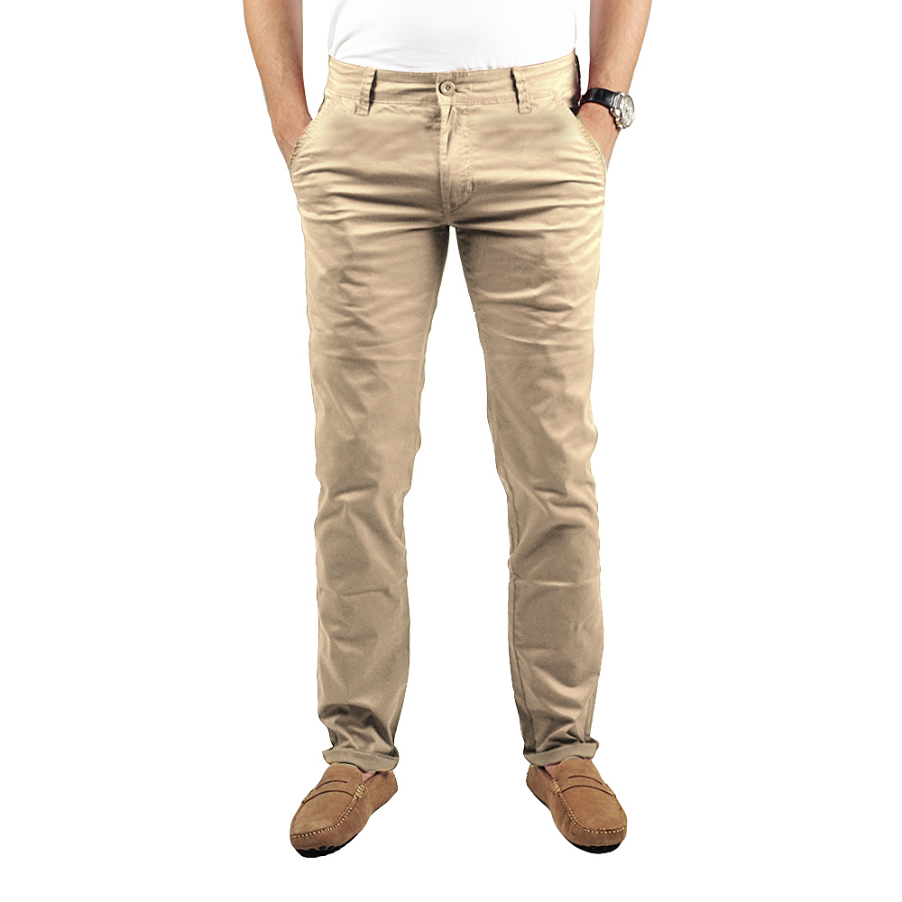 Pantalon Chino Homme Beige Lee-Yo