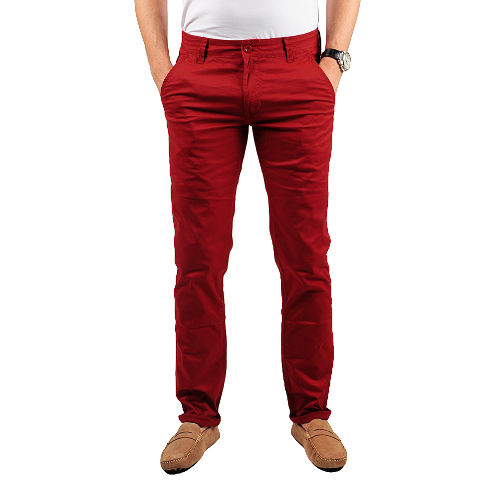 Pantalon Chino Homme Rouge Intersaison Lee-yo