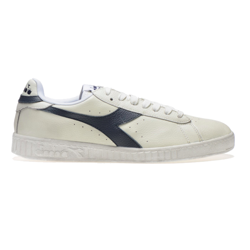 Baskets Diadora Game L Low Waxed - Blanc et bleu