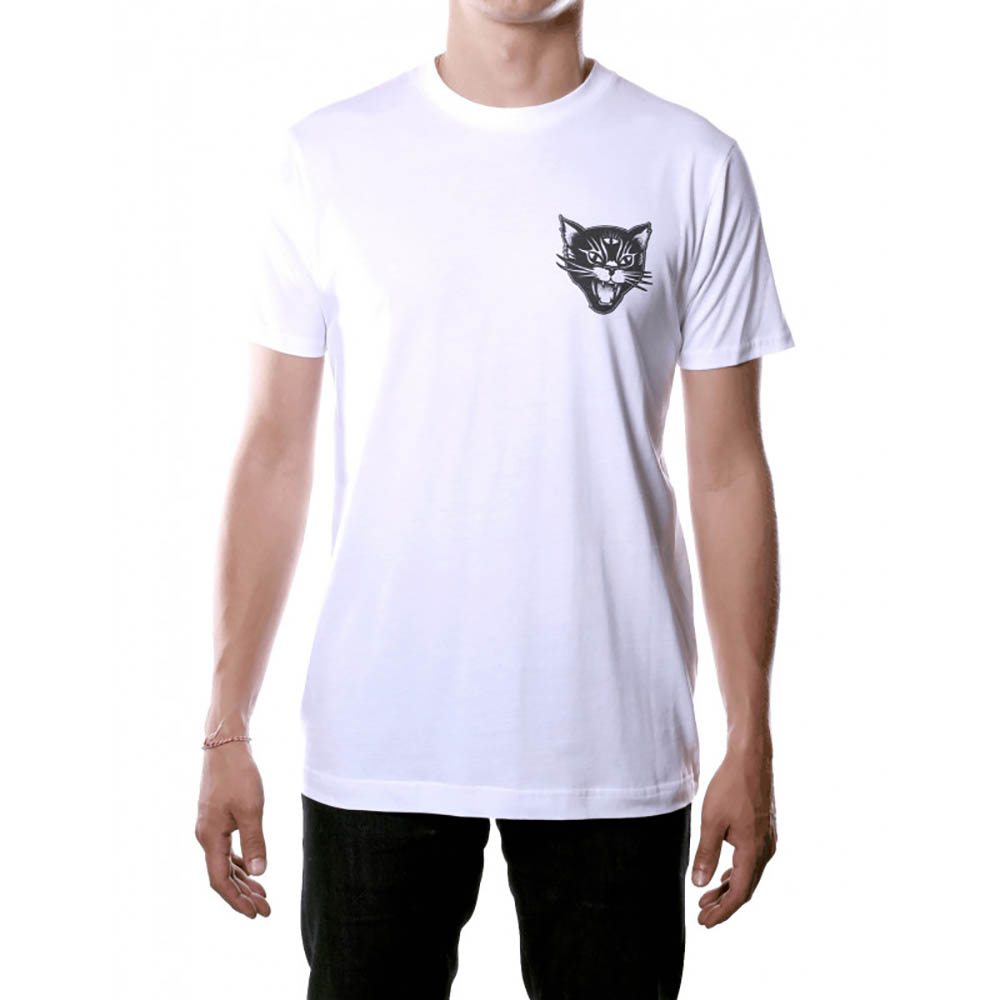 T-shirt blanc Jacker Black cat
