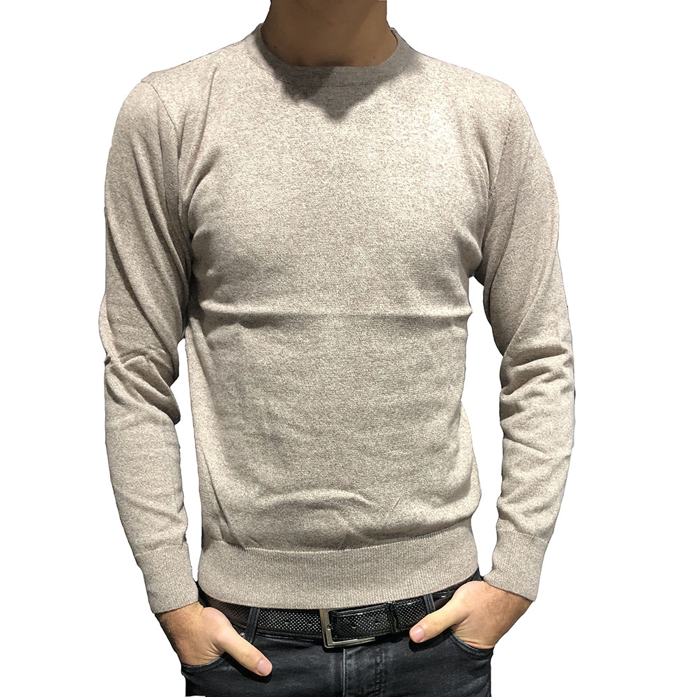 Pull col rond beige chiné