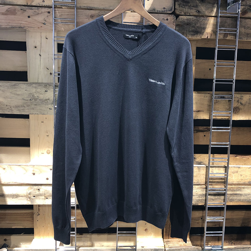 Pull DARK NAVY Col V Homme Teddy Smith