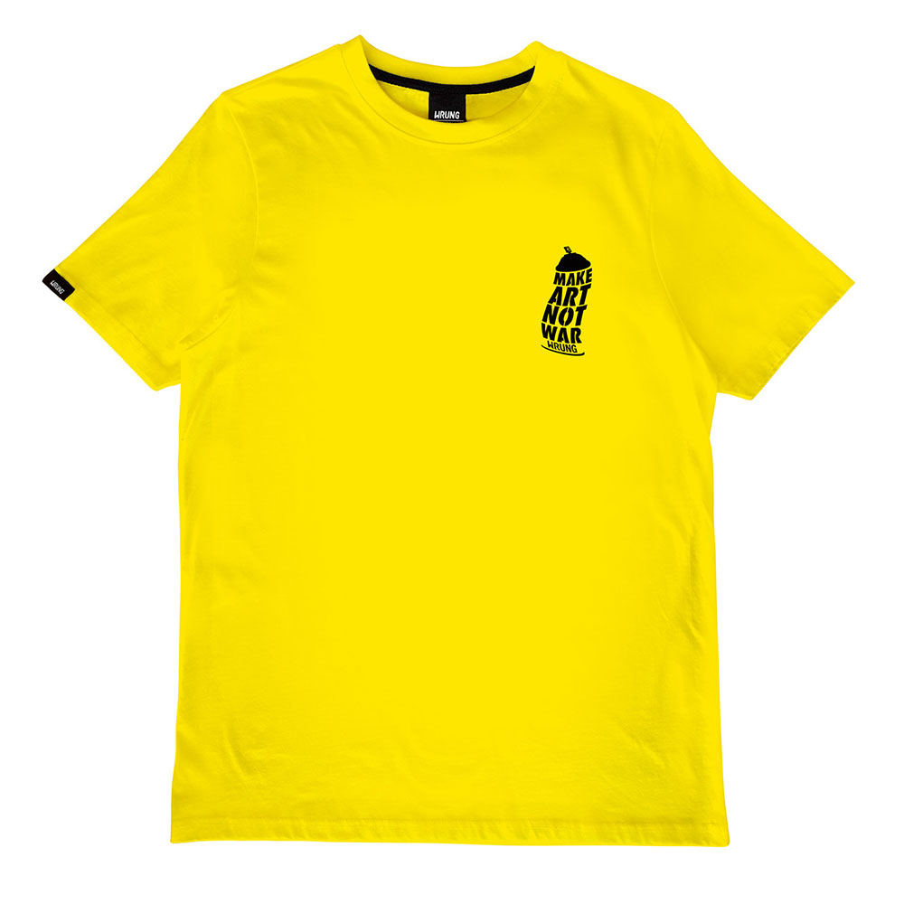 t-shirt jaune neon wrung art distorted