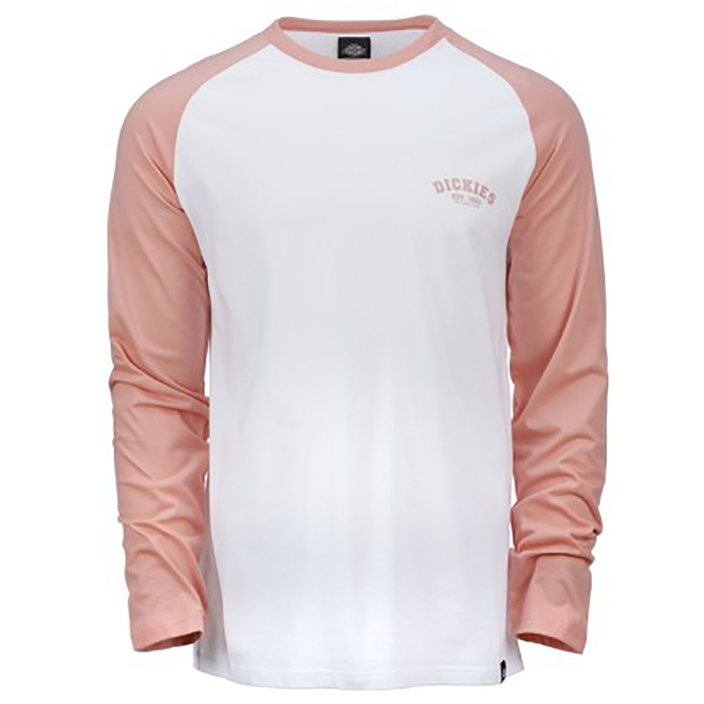 T-shirt manches longues blanc et rose Baseball Dickies