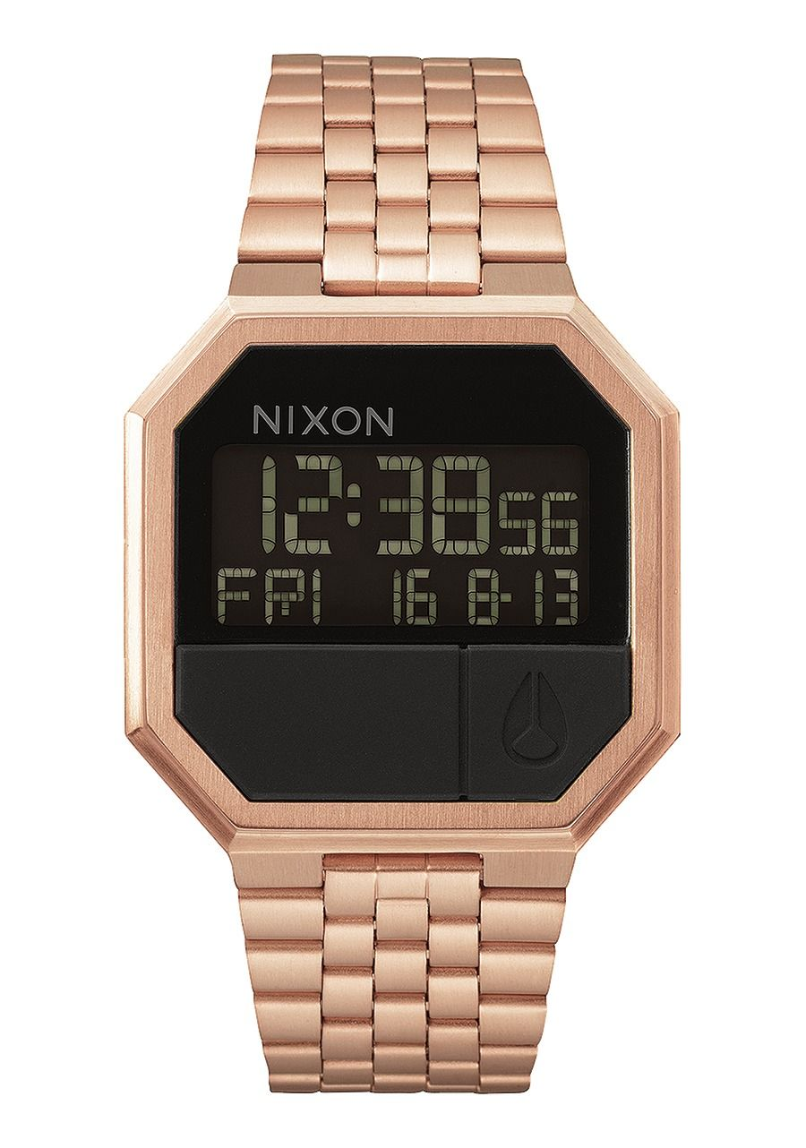 Montre digitale or rose Nixon re-run