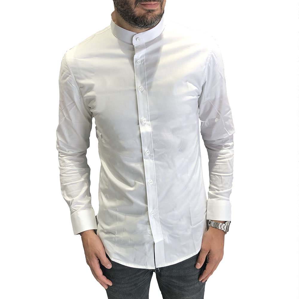 Chemise slim fit blanche col mao Leeyo