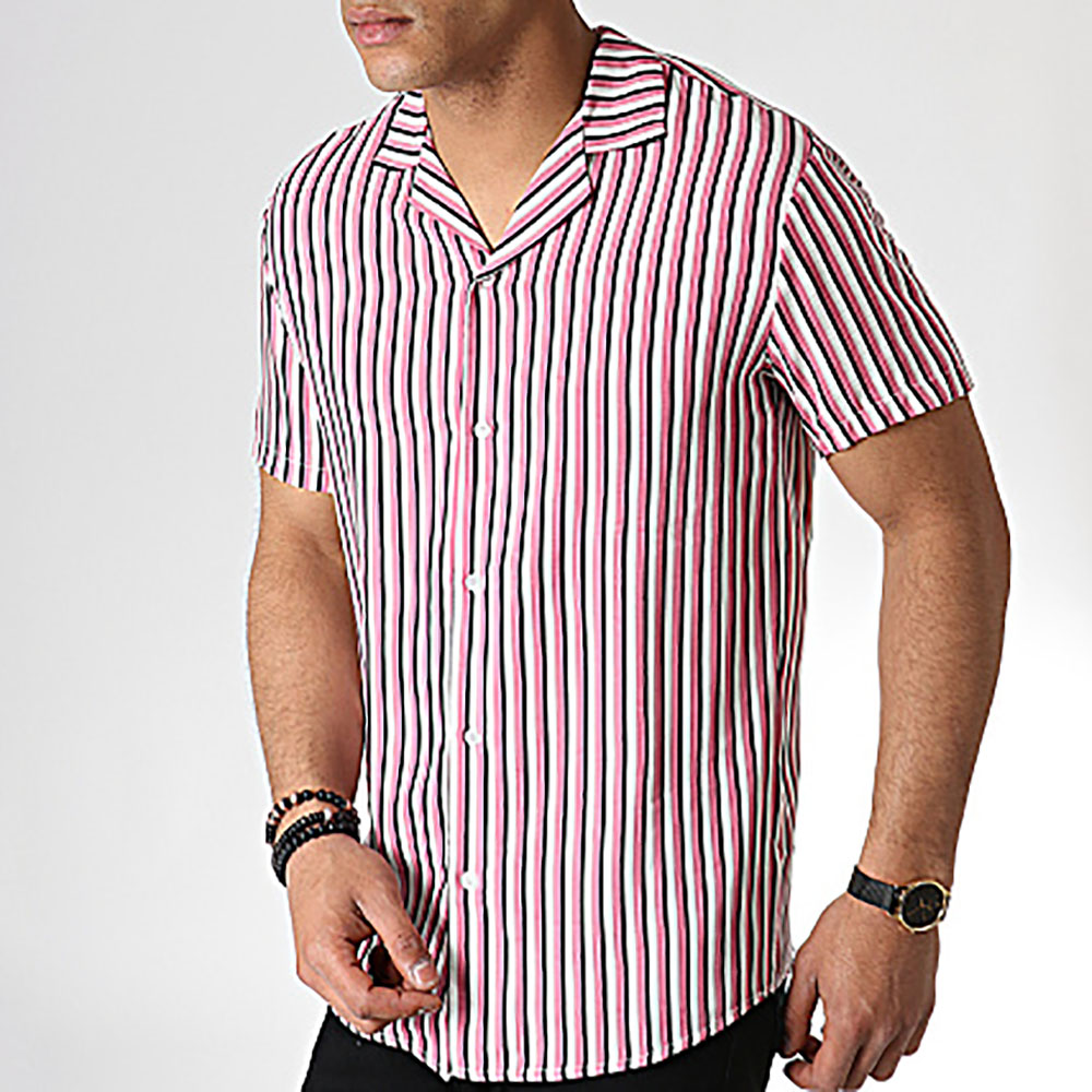 Chemise MTX à rayures roses homme