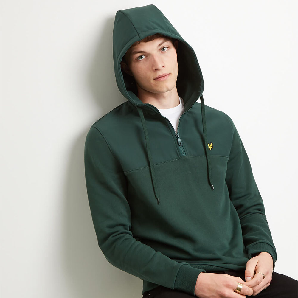 Sweat à capuche zip Lyle and Scott - vert sapin