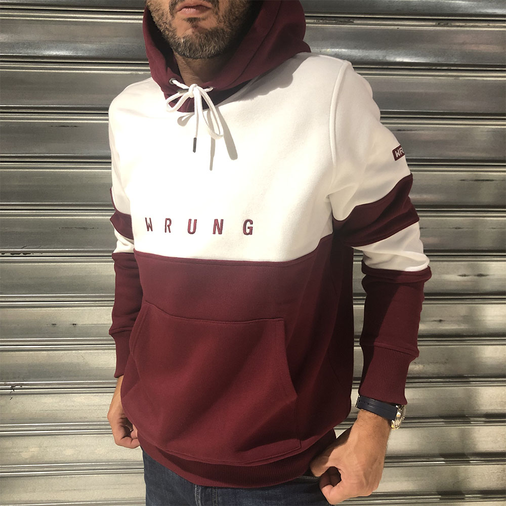Sweat à capuche Wrung - blanc et bordeaux