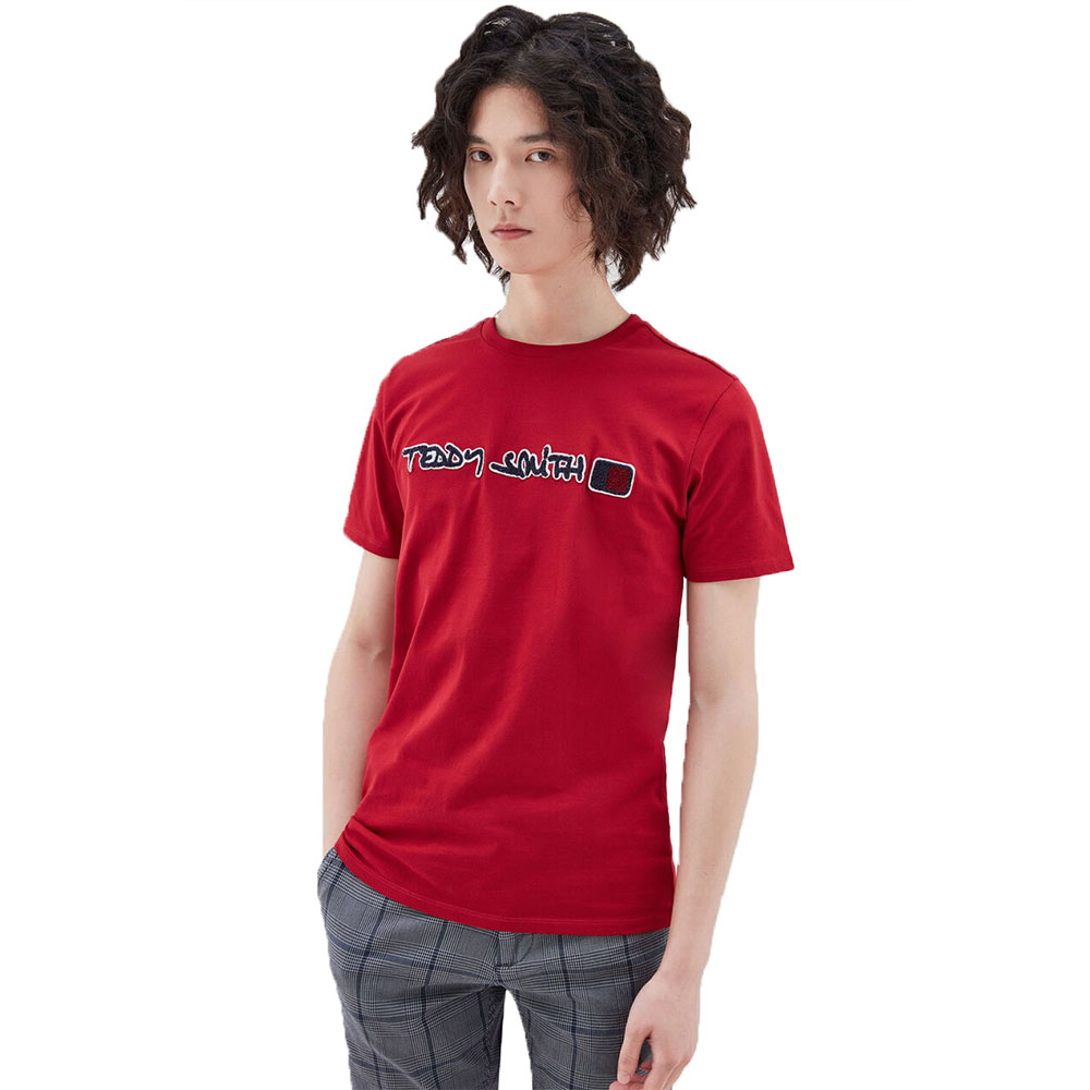T-Shirt-Teddy-Smith-Relief-Rouge