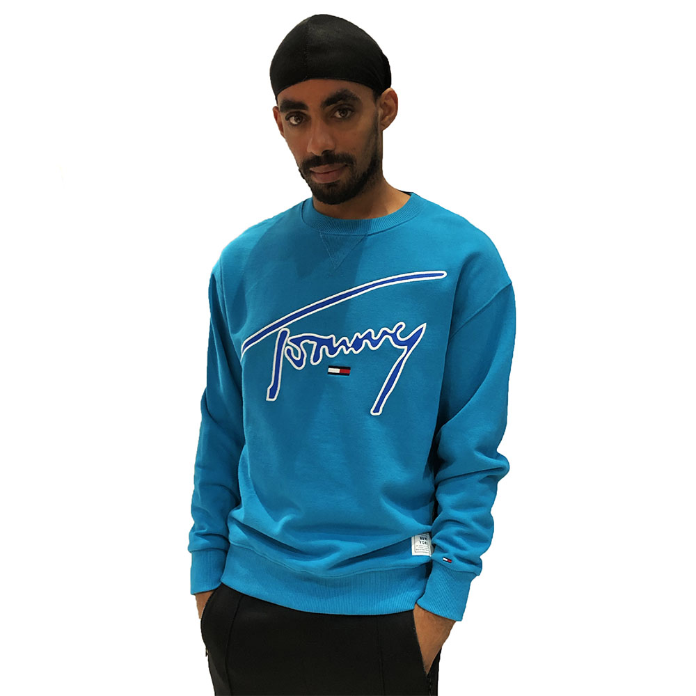 Sweat-Col-Rond-Tommy-Jeans-Signature-Bleu-Turquoise