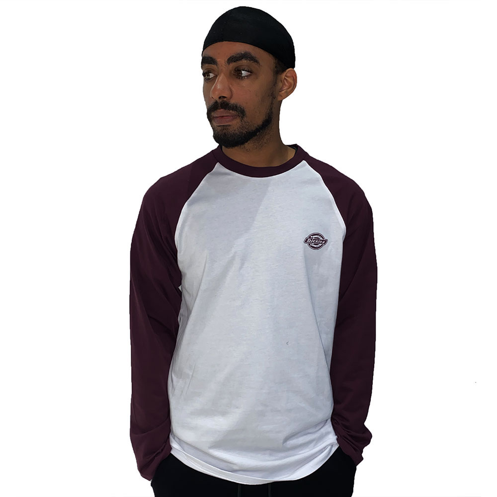 T-Shirt-Dickies-Manches-Longues-Mauve-Blanc