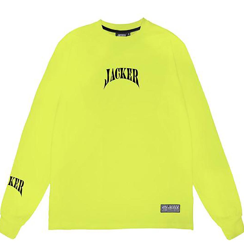 T-Shirt-Manches-Longues-Col-Rond-Jacker-Lime-Jaune-Fluo