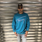 sweat-tommy-jeans-turquoise-signature-2