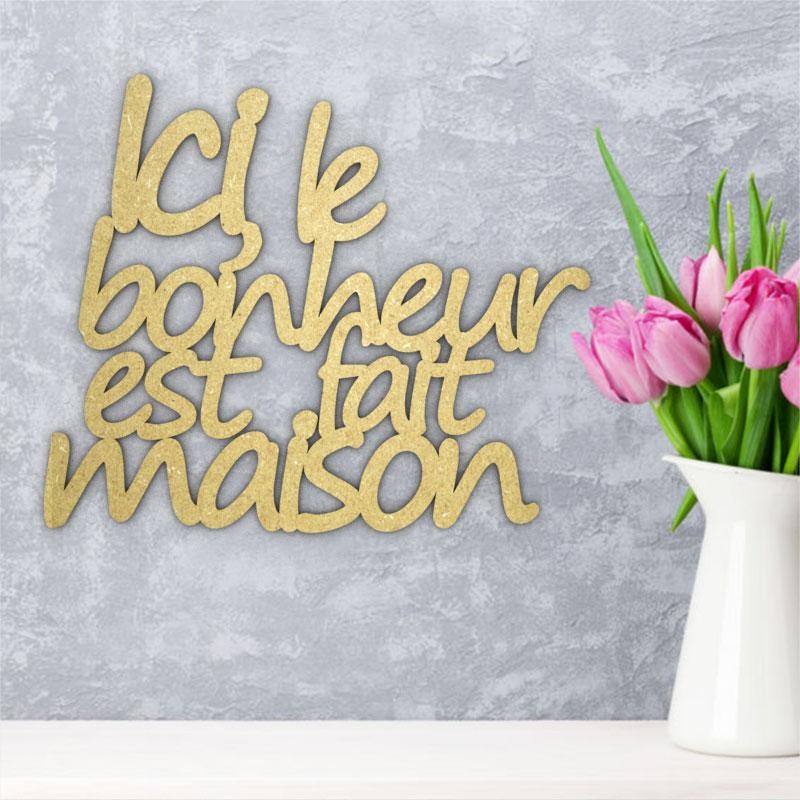 Citation cursive murale en bois - Bonheur maison