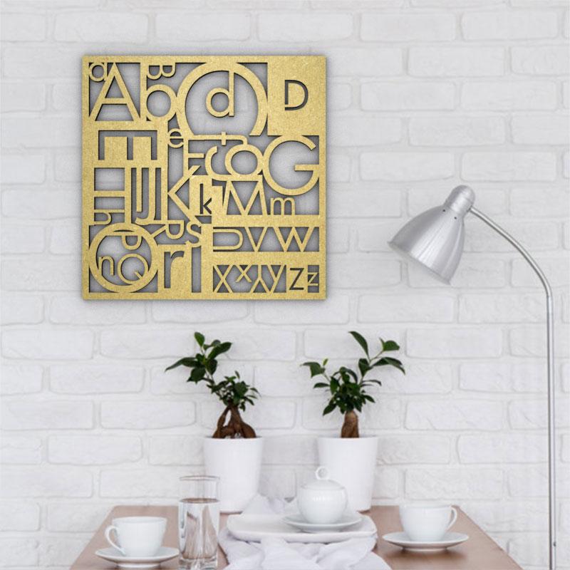 Cadre mural en bois - Alphabet