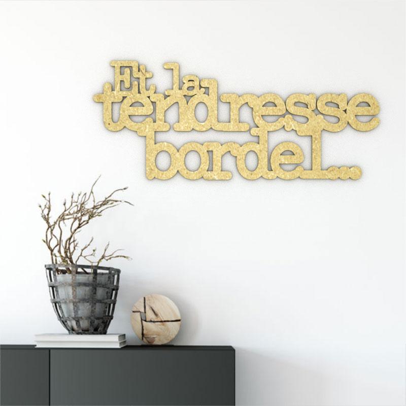Citation cursive murale en bois - La Tendresse