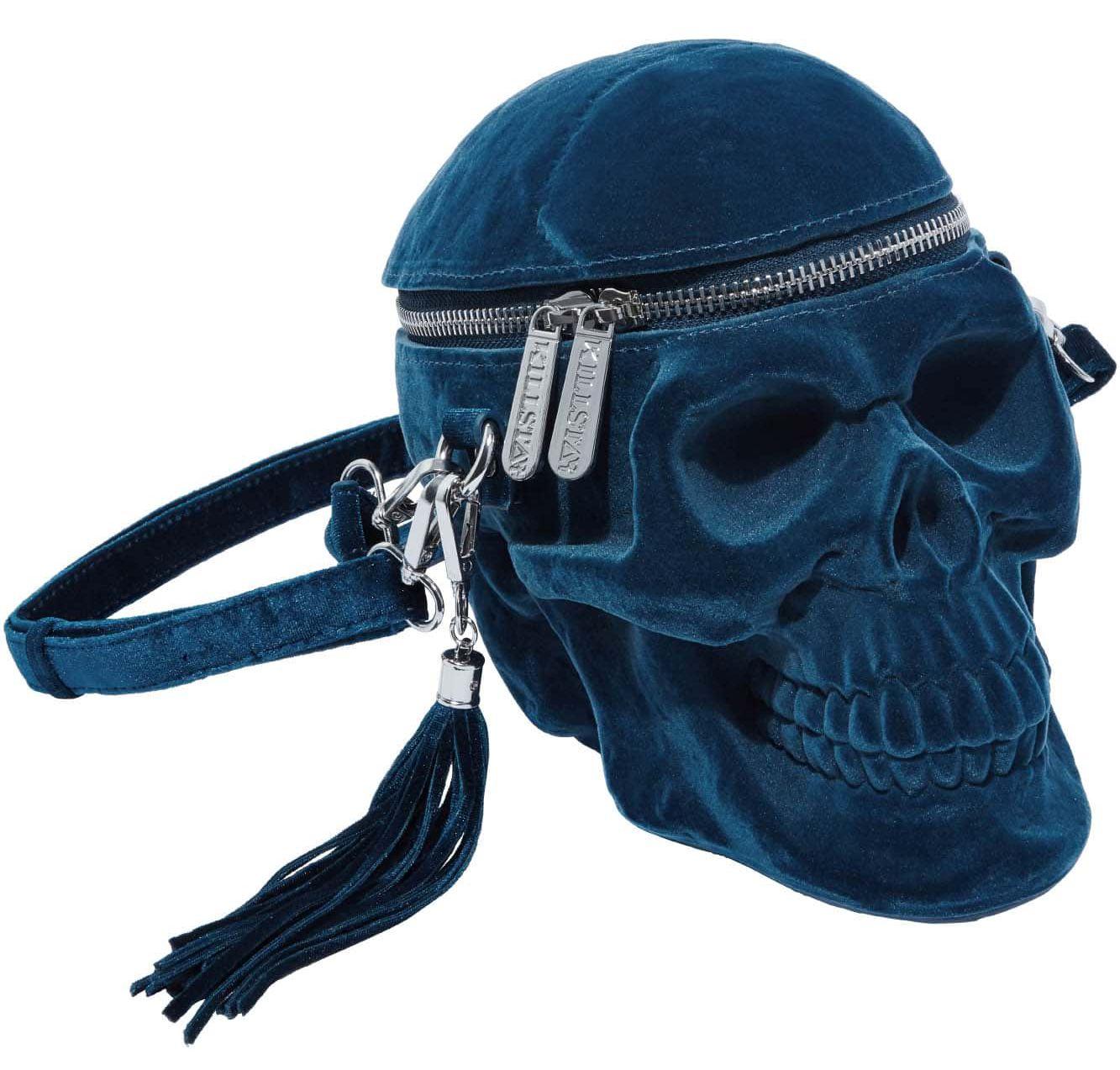 KS03091_sac-a-main-gothique-glam-rock-tete-de-mort-grave-digger-velvet-bleu