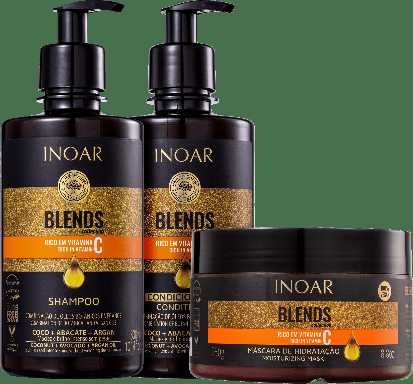 inoar blends  entretien lissage shampoing masque conditioner