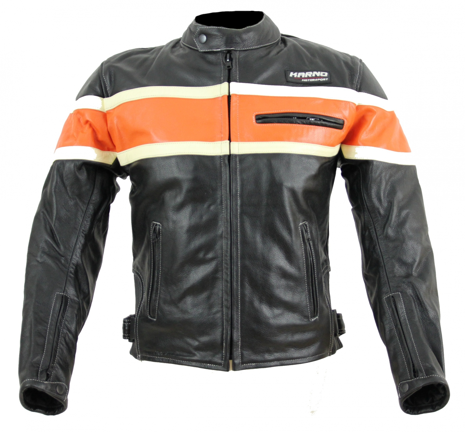 kc011 blouson moto chopper karno motorsport cuir noir orange biker usa style vetement moto. Black Bedroom Furniture Sets. Home Design Ideas