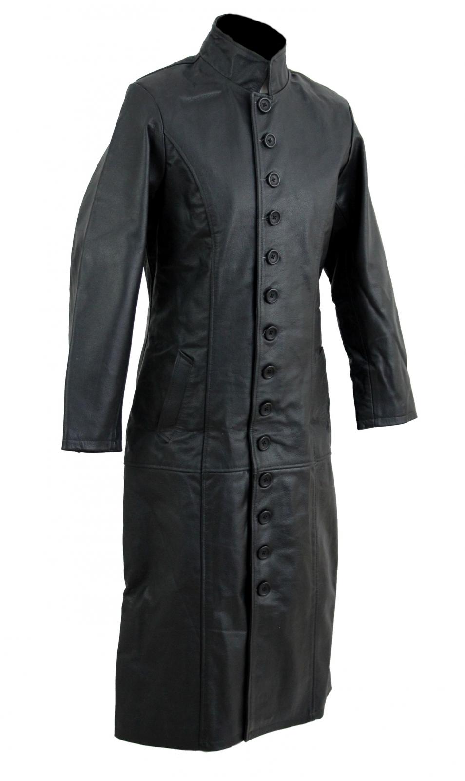 kc019 manteau long cuir noir karno style matrix gothique mode cuir h f veste et manteau cuir. Black Bedroom Furniture Sets. Home Design Ideas