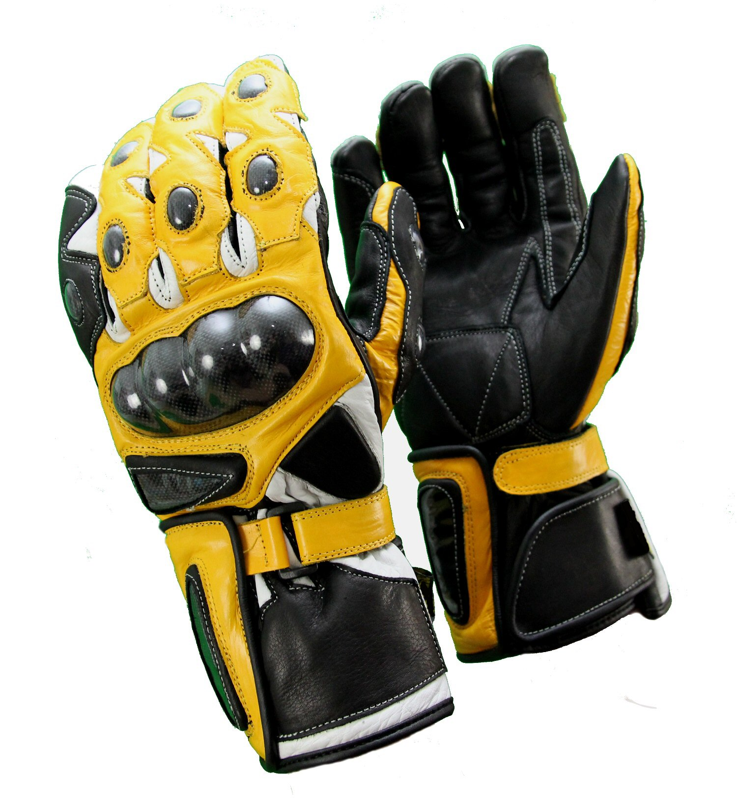 Blouson cuir moto jaune et noir