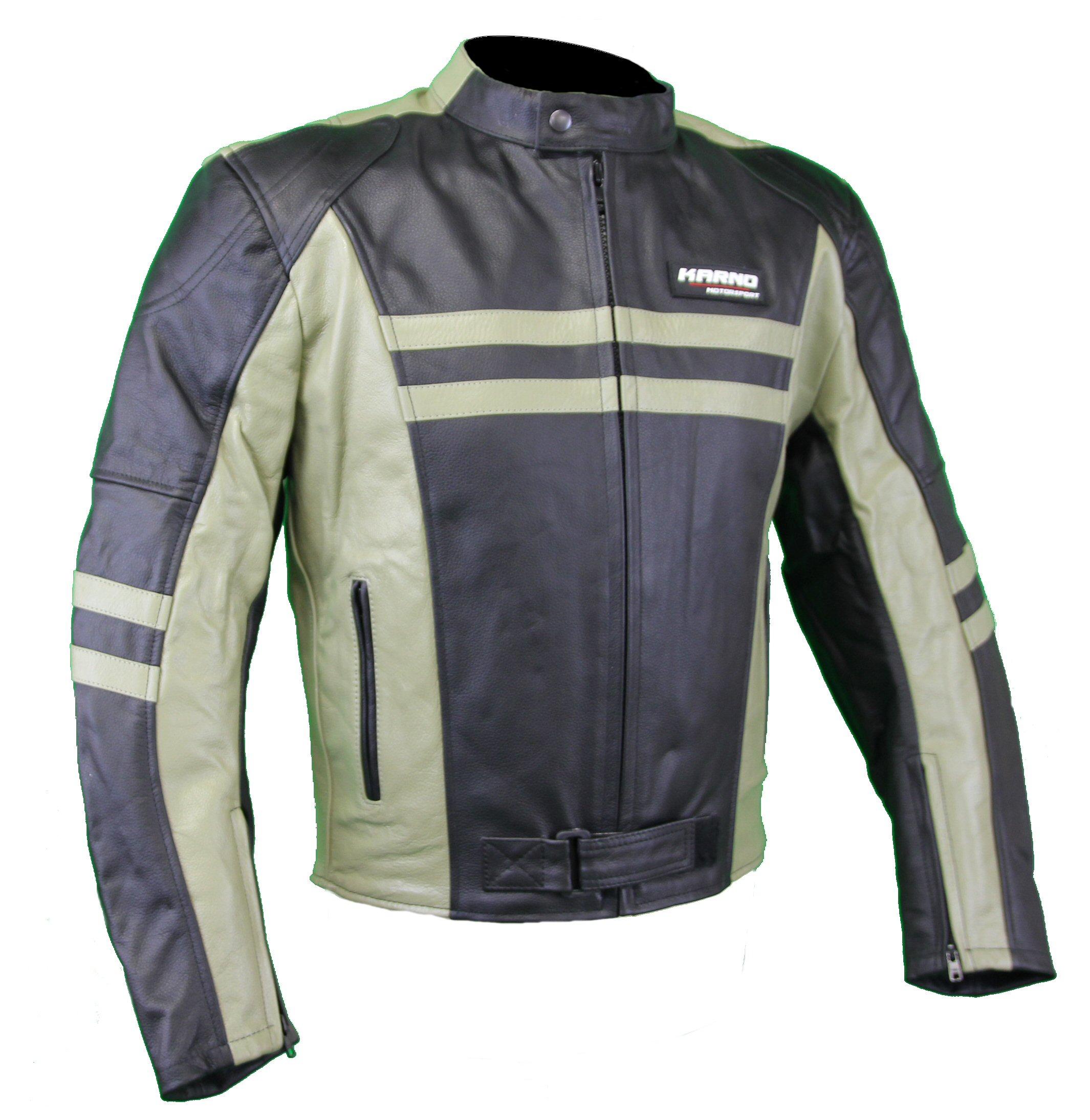 kc032 blouson moto cuir cafe racer vintage noir karno motorsport. Black Bedroom Furniture Sets. Home Design Ideas
