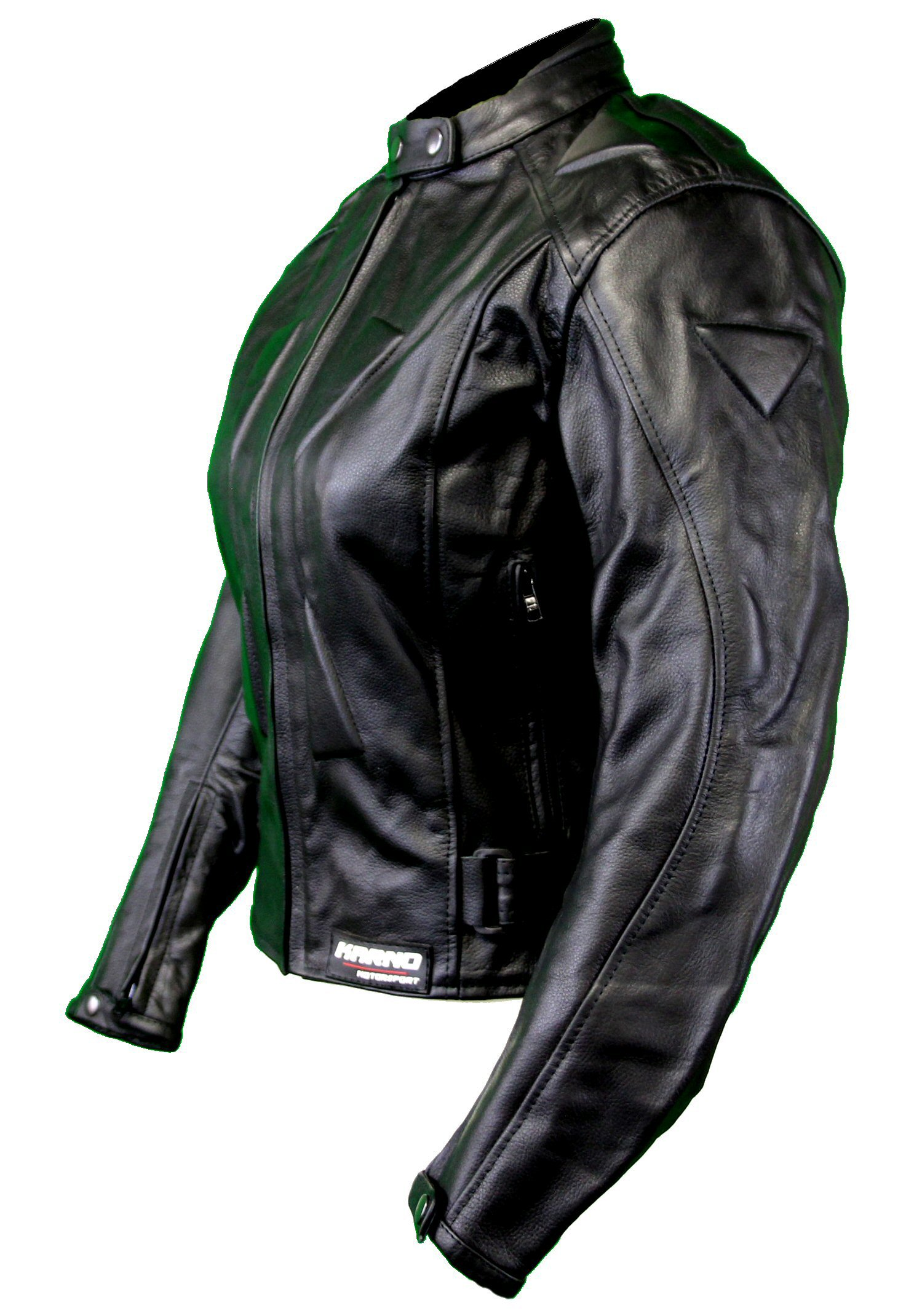 kc033 veste moto unie femme cuir noir karno motorsport ebay. Black Bedroom Furniture Sets. Home Design Ideas