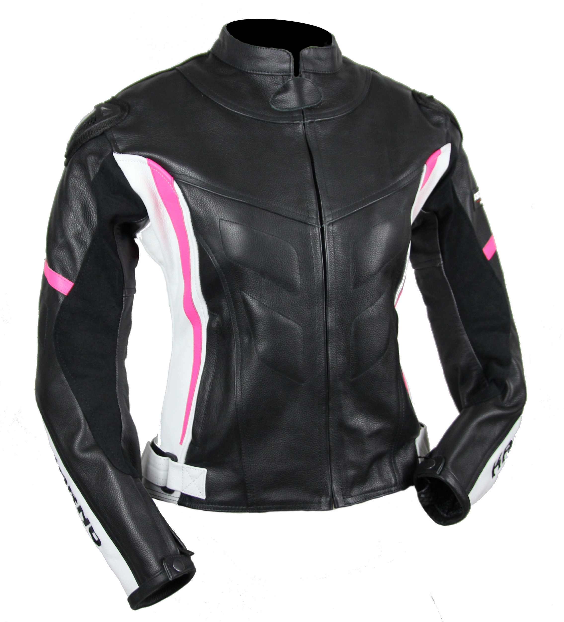 kc036 blouson moto cuir femme lady gp karno motorsport rose fluo. Black Bedroom Furniture Sets. Home Design Ideas