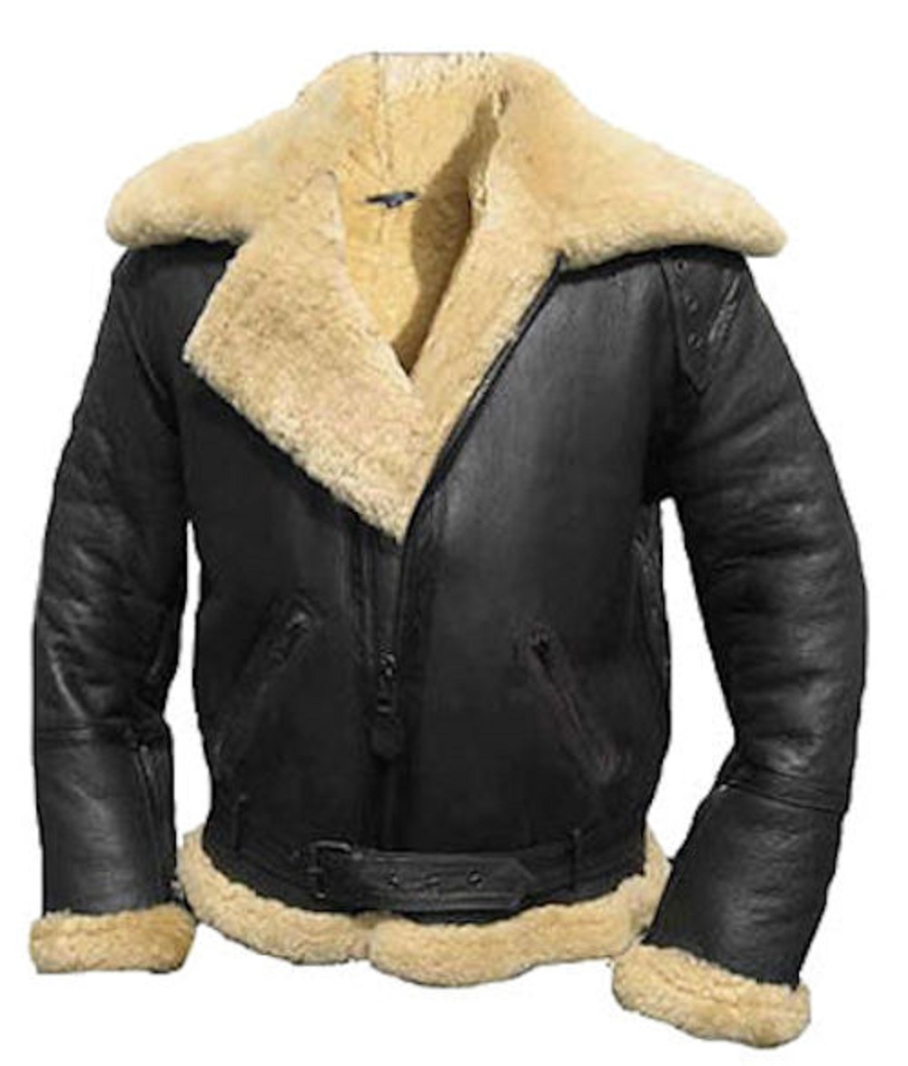 kc025 blouson aviateur hiver en cuir noir fourr karno. Black Bedroom Furniture Sets. Home Design Ideas