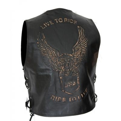 kc502 gilet biker cuir noir karno aigle live to ride bol ro. Black Bedroom Furniture Sets. Home Design Ideas