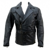 Kc018 Manteau Veste moto ou mode KARNO cuir bovin noir -doubl. hiver amovible