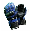 Kc402 Gants moto cuir bleu KARNO RACING - protections carbone