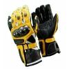 Kc404 Gants moto cuir jaune KARNO RACING - protections carbone