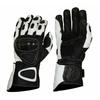 Kc407 Gants moto cuir noir/blanc KARNO RACING - protec carbone
