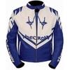 Kc004 Blouson cuir moto quad KARNO - THE CROW bleu et blanc