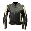 Kc015 Blouson moto FEMME cuir cintré noir/beige KARNO - doublure hiver amovible