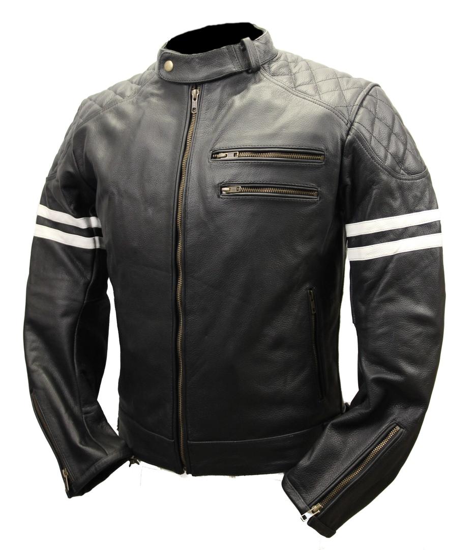 blouson moto cuir noir vintage racer stripes karno motorsport. Black Bedroom Furniture Sets. Home Design Ideas