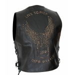 Kc502 GILET boléro cuir noir KARNO Live To Ride USA