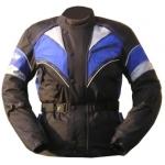 Kt002 Veste parka blouson moto textile mi-longue noir/bleu KARNO