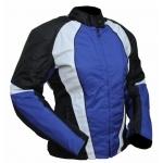 Kt011 Blouson moto FEMME KARNO cintré TYPHOON bleu - doublure amovible