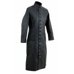 Kc019 Manteau long cuir noir KARNO style matrix gothique