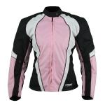 Kt007 Blouson moto textile FEMME cintré rose KARNO TYPHOON - doublure hiver