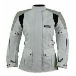 Kt013 VESTE moto textile FEMME cintré blanc KARNO WHITE PEARL - doublure hiver