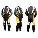 Kc201 Combinaison moto KARNO cuir jaune YELLOW-STORM RACE - 2 parties
